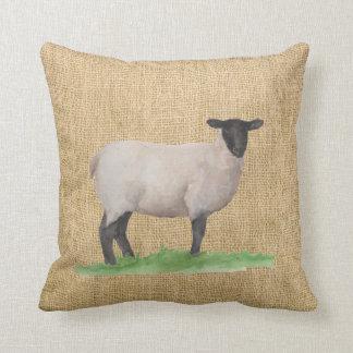 Watercolor Suffolk Sheep Cushion