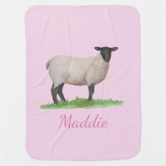 Watercolor Suffolk Sheep Ewe on Pink Baby Blanket