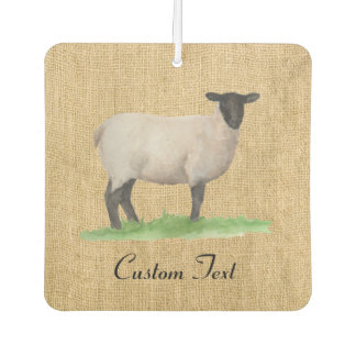 Watercolor Suffolk Sheep Faux Burlap Car Air Freshener