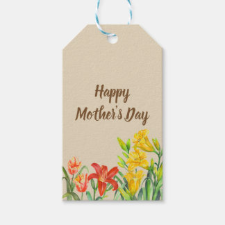Watercolor Summer Flowers Mother's Day Gift Tags