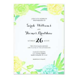 Watercolor Summer Flowers Wedding Card