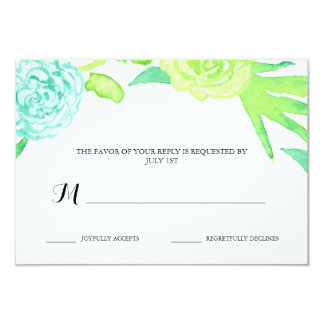 Watercolor Summer Flowers Wedding RSVP 9 Cm X 13 Cm Invitation Card