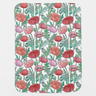 Watercolor summer poppies baby blanket