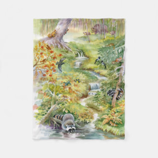 Watercolor Summer Scene Small Fleece Blanket