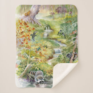 Watercolor Summer Small Sherpa Fleece Blanket