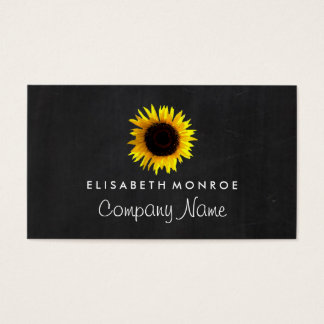 Watercolor Sunflower and Chalkboard Business Card