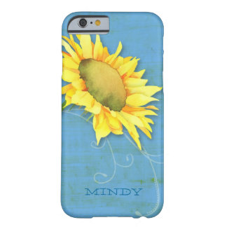 Watercolor Sunflower Rustic Blue Barely There iPhone 6 Case