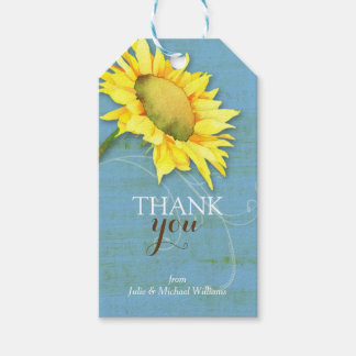 Watercolor Sunflower Rustic Blue Wedding Thank You Gift Tags