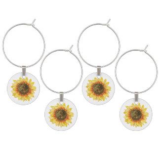 Watercolor Sunflower Wine Charm