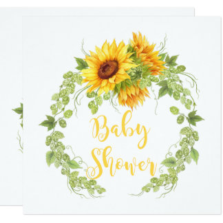 Watercolor Sunflowers Greenery Baby Shower Invites