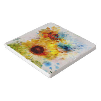 Watercolor Sunflowers Marble Stone Trivets