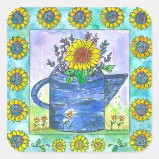 Watercolor Sunflowers Square Sticker