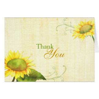 Watercolor Sunflowers + Swirls Wedding Thank You Card