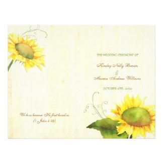 Watercolor Sunflowers Wedding Bi Fold Programs 21.5 Cm X 28 Cm Flyer