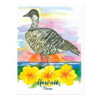 Watercolor Sunset Hawaii State Bird Nene Postcard