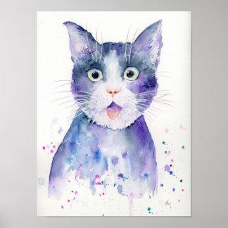 Watercolor Surprised Cat Portrait Poster