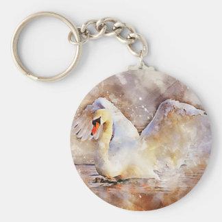 Watercolor Swan Key Ring