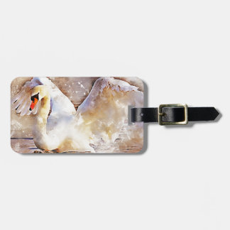 Watercolor Swan Luggage Tag