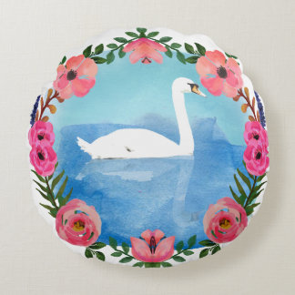 Watercolor Swan round throwpillow