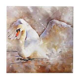 Watercolor Swan Tile