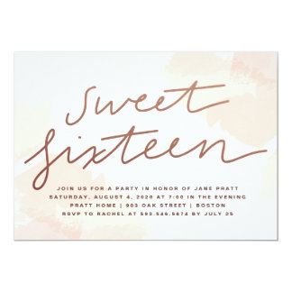 Watercolor Sweet Sixteen Invitation