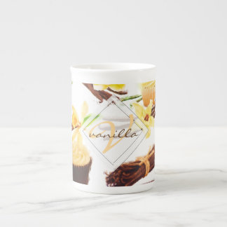 Watercolor Sweet Vanilla Orchid Monogram Tea Cup