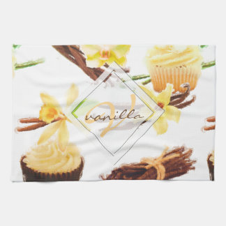 Watercolor Sweet Vanilla Orchid Monogram Tea Towel