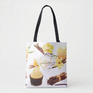 Watercolor Sweet Vanilla Orchid Monogram Tote Bag