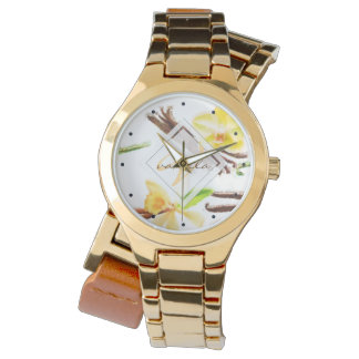 Watercolor Sweet Vanilla Orchid Monogram Watch