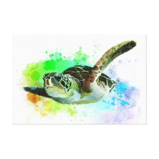 Watercolor Swimming Sea Turtle Canvas
