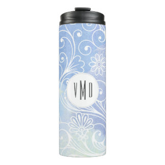 Watercolor swirl floral purple monogram thermal tumbler