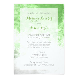 Watercolor Swirl Wedding Invitation - Green