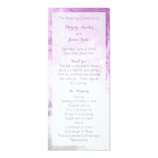 Watercolor Swirl Wedding Program Purple 10 Cm X 24 Cm Invitation Card