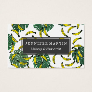 Watercolor Swiss Cheese Plant and Bananas Business Card