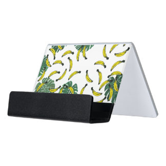 Watercolor Swiss Cheese Plant and Bananas Desk Business Card Holder