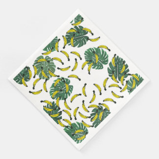 Watercolor Swiss Cheese Plant and Bananas Disposable Serviette