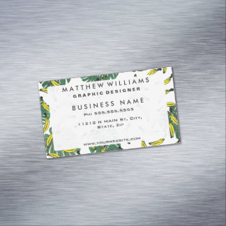 Watercolor Swiss Cheese Plant and Bananas Magnetic Business Card