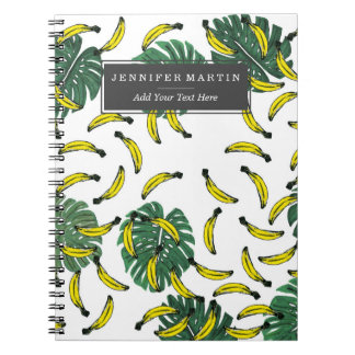 Watercolor Swiss Cheese Plant and Bananas Notebooks