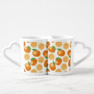 Watercolor tangerines coffee mug set