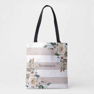 Watercolor Taupe Floral Stripes Tote Bag