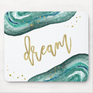Watercolor Teal and Faux Gold Geode | Dream Mouse Pad