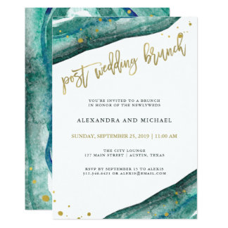 Watercolor Teal and Gold Geode Post Wedding Brunch Card