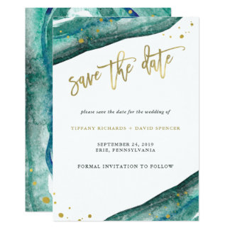 Watercolor Teal and Gold Geode Save the Date Card