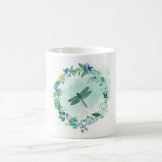 Watercolor Teal Blue Butterflies Flowers Dragonfly Coffee Mug