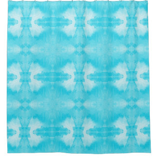 watercolor teal pattern shower curtain