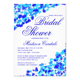 Watercolor Teal Royal Blue Bridal Shower Invites