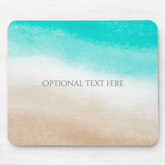 Watercolor Teal & Tan Water & Sand Beach Tropical Mouse Pad