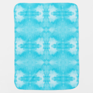 watercolor teal tie-dye pattern baby blanket