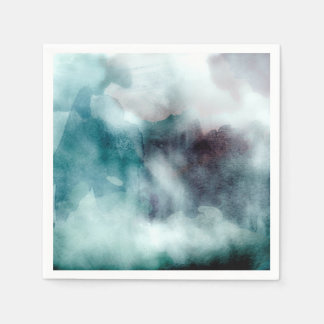 Watercolor Teals - All Options Disposable Serviette