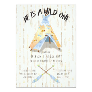 Watercolor Teepee 1st Birthday tribal boho Boy Card